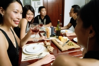 Adults having dinner party, over the shoulder view - Alex Microstock02