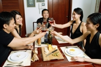 Adults sitting at dining table toasting with wine glasses - Alex Microstock02