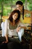 Young women on elephant, looking at camera, portrait, Phuket, Thailand - Alex Mares-Manton