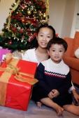 Children sitting by Christmas tree, holding gift, portrait - Alex Microstock02