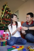 Couple giving each other gifts, Christmas tree behind them - Alex Microstock02