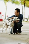 Man crouching next to Dalmatian dog - Alex Microstock02