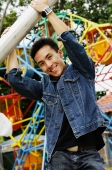 Young man at playground, smiling at camera - Alex Microstock02