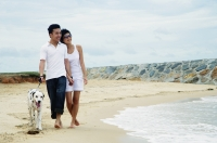 Couple walking on beach with Dalmatian - Alex Microstock02