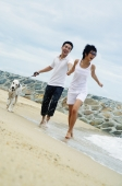 Couple running on beach with dog - Alex Microstock02