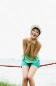 Woman wearing hat, smiling at camera - Alex Microstock02