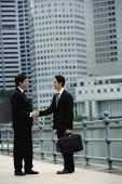 Two businessmen shaking hands, river and buildings in the background - Alex Mares-Manton