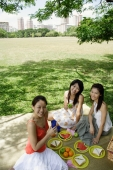 Three women having a picnic in park, smiling at camera - Alex Microstock02