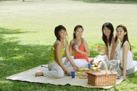 Young women sitting in park, having picnic, smiling at camera - Alex Microstock02