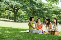 Young women picnicking in park - Alex Microstock02
