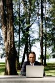 Businessman in park, using laptop - Yukmin
