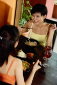 Two young women having a meal in restaurant - Wang Leng