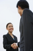 Businessman and businesswoman shaking hands, low angle view - Alex Mares-Manton
