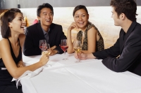Couples sitting in restaurant, drinking wine and talking - Alex Mares-Manton