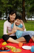 Mother and son on picnic blanket, smiling at camera - Yukmin