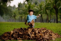 Young boy in park, kicking a pile of leaves - Yukmin