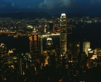 Hong Kong, Night View, Central, Victoria harbour and Kowloon, view from the Peak - Martin Westlake