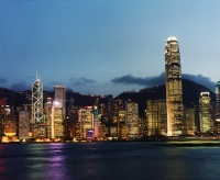 Hong Kong, early evening view of Central and the Peak, view from Star Ferry terminal, Kowloon - Martin Westlake