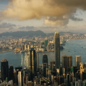 Hong Kong, Late afternoon, Central, Victoria harbour and Kowloon, viewed from the peak - Martin Westlake