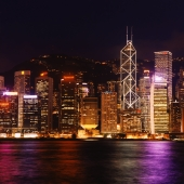 Hong Kong, Night View of skyscrapers, Central, Viewed from Star Ferry terminal - Martin Westlake