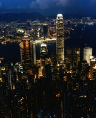 Hong Kong, early evening, Central, Victoria harbour and Kowloon, view from the Peak - Martin Westlake