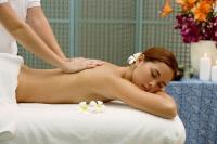 Young woman lying on massage table having back massaged - Alex Microstock02
