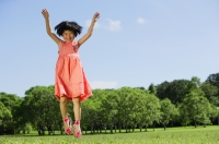 Girl in park, jumping - Alex Mares-Manton