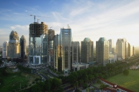 Late afternoon view of office buildings and construction along Jalan Jend Sudirman, Jakarta - Martin Westlake