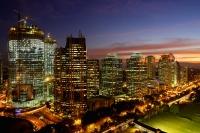 Sunset view of office buildings and construction along Jalan Jend Sudirman, Senayan, Jakarta - Martin Westlake