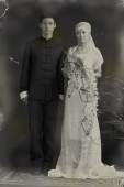 Old fashioned portrait of bride and groom - Alex Mares-Manton