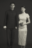 Black and white image of couple in traditional Chinese attire - Alex Mares-Manton