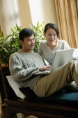 Couple in living room, looking at laptop - blueduck
