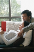 Couple in living room, reading a book together - blueduck