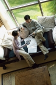 Couple at home doing finances, high angle view - blueduck