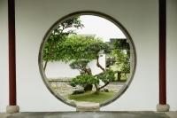 Bonsai trees seen through circular window at the Chinese Garden, Singapore - Yukmin