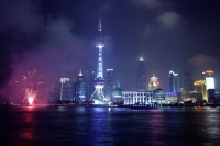 Oriental Pearl TV Tower, view from the Bund, Shanghai, China - Yukmin