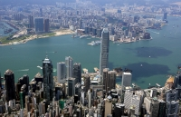 Aerial view overlooking Central & Victoria Harbour, Hong Kong - OTHK