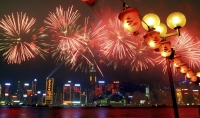 Fireworks in Victoria Harbour during the Chinese new year, Hong Kong - OTHK