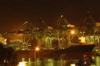 Shipping port at night - Ellery Chua