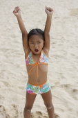 Girl raising arms and shouting - Yukmin