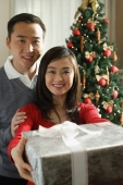 Young couple presenting Christmas gift - Alex Mares-Manton
