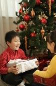 Children with presents sitting under Christmas tree - Alex Mares-Manton