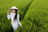 Young woman wearing traditional Vietnamese outfit standing in rice paddy - Alex Mares-Manton