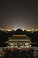 Aerial view of Forbidden City at night, Beijing, China - Alex Mares-Manton