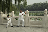 Grandfather and grandson doing Tai Chi together in park - Alex Mares-Manton