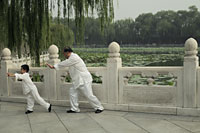 Older man and boy doing Tai Chi in park, Beijing, China - Alex Mares-Manton