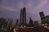 Night view of Shanghai skyline with Shanghai World Financial Center - Alex Mares-Manton