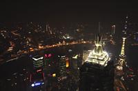 Aerial view of The Bund at night, Shanghai,China - Alex Mares-Manton