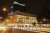 Light stream from traffic in front of the Hotel Continental at night, Ho Chi Minh, Vietnam - Alex Mares-Manton
