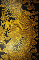Detail of Chinese door panel of dragon motif - Asia Images Group